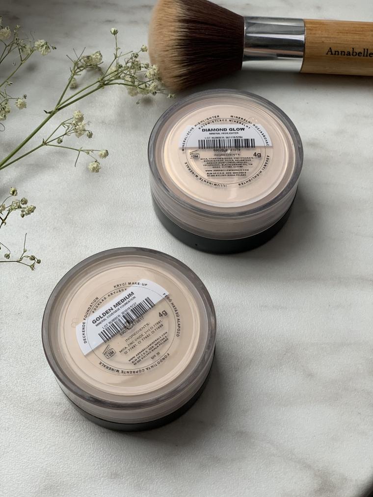 Annabelle Minerals rozświetlacz Dimond Glow I podkład Golden Medium